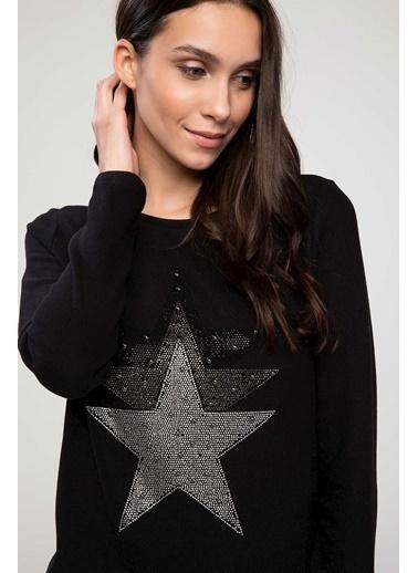 DeFacto Taş Detaylı Baskılı Uzun Kollu T-shirt Siyah